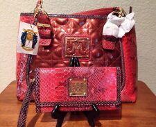 Miss Tina Purse Handbag Orange Print W/Gold Accents & Matching Wallet/wristlet