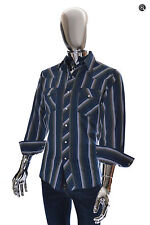 Excellent Mens Vintage Wrangler Blue Striped Western Pearl Snap Cowboy Shirt M