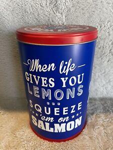 "NEW YORK BAKERY CO BAGEL TIN  Blue ""When life gives you lemons"""