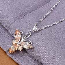 Cadena de cuello dama Flor Colgante Circonia oro 45cm Collar chapado