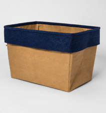 Pillowfort Fabric Rectangular Storage Bin, Khaki/Blue, 15in x 10in x 10in