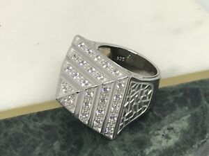SOLID 925 STERLING SILVER CZ PYRAMID RING CHUNKY 22 GR BRAN NEW