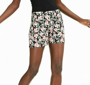INC Womens Shorts Black Size 18W Plus Floral Pull On Mid-Rise Ponte Knit $49 474