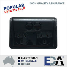 Slim Wafer Double Power Point GPO Black Body Black Base Slimline Electrical