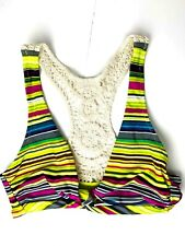 Radio Fiji Womens Reunion Bikini Top Swimsuit Crochet Plum Green Size Large