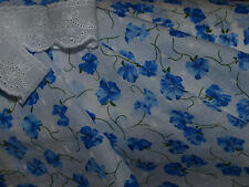 Beautiful Deep Blue Floral Clipped Spot Cotton Voile Fabric -140cm x 0.5 mtr