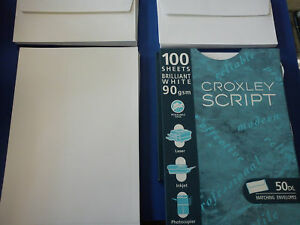 Croxley Script 90gm Paper and Matching Envelopes