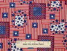 Patriotic Star Stripe Red Blue Americana USA July 4th Novelty Cotton Fabric YARD