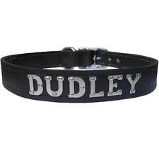 Medium/Large Personalised Black Designer Leather Dog Collar