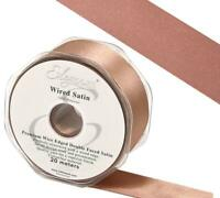 Eleganza Deep Rose Gold Wired Satin Ribbon Double Sided 50, 38, 25mm x 1m Piece