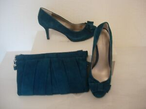 JACQUES VERT SUEDE SHOES  AND MATCHING BAG -TEAL/GREEN SIZE 8 -NEW