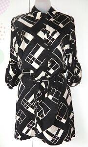WOMENS MARKS & SPENCER SHIRT DRESS SIZE 14 TUNIC TOP WORK SHIFT SKIRT JACKET BLK