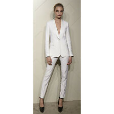 White Designer Womens Suits Formal Business Work Suit Ladies Trouser Female Suit