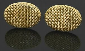 Heavy vintage 18K yellow gold 18.5 x 25.5mm oval woven style cuff links