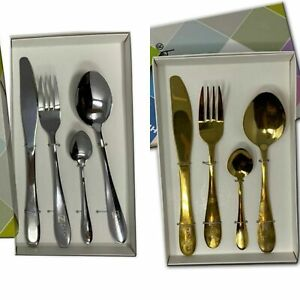 Stainless Steel Cutlery Set 4/8/16 Piece Knives Fork Spoon Kitchen Tableware Set