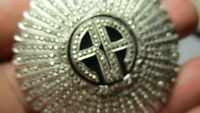 STERLING SILVER 925 ESTATE MASSIVE AA MARCASITE ROUND FAN INITIALS PIN BROOCH