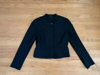 THEORY Womens sz 12 black cropped standcollar jacket blazer