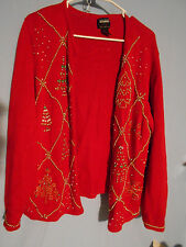 WOMENTS UGLY CHRISTMAS HOLIDAY SWEATER CARDIGAN GOLD TREES  SMALL RED