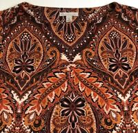 Dressbarn Women's Long Sleeve Blouse Top 1X Plus Brown Floral Leaves Stretch