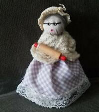 "Vintage Handmade Cloth Doll 4 1/2"" Lady W Rolling Pin"