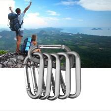 Lot 1.6''Silver 50 Pcs D Shape Aluminum Carabiner Spring Belt Clip Key Chain