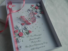 Handmade Personalised Card For Christening, Birthday 1st, 2nd, 3rd With Gift Box