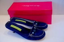 MATERIA PRIMA by Goffredo Fantini Blue Suede Kitten Heel Slides Mules Size 10