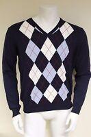 Burlington Men's L/S V-neck Fine 100% Cotton Argyle Sweater Size Large 60206