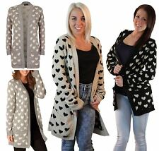Ladies Front Open Multi Heart Print Sweater Womens Two Pocket Knitted Cardigan