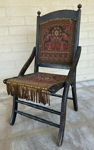 Late 19th Century Antique Folding Tapestry Chair
