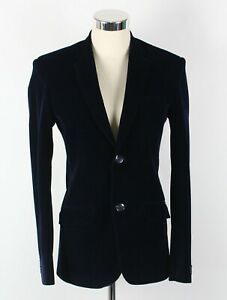 GROOVY Mens Velvet Jacket Blazer Navy Single Breasted Side Vents Size 32 Retro