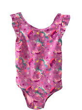 Cat And Jack Flutter Sleeve One Piece Unicorn Swim pink Wide Strap 4T Lined Bow