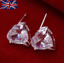 925 Sterling Silver plated Crystal Heart Earrings Sparkling Studs UK