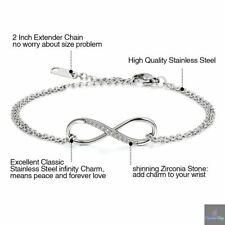 Bracelet Femme  Chaîne de Main Symbole Infini Amour Acier Inoxydable Infinity