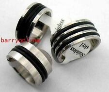 60 S-steel Gummi Ring Herr Amazing Edelstahl Ringe damen Sonderposten