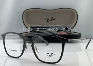 Rayban Square Eyeglasses Gray Graphene Frame Titanium Clear Demo RB8955 5757 53