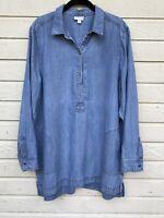 J JILL Denim Blue Chambray Drapey Tencel Linen Shirt Tunic Top Dress sz US L