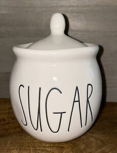 "Rae Dunn Artisan Collection ""SUGAR"" White W/ Black Letters Bowl with Lid"
