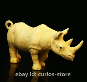 """4.7""""Fine Chinese Exquisite Box-wood Hand-carved Lovable Animal Rhinoceros Statue"""