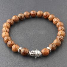 Fashion 8MM Multilayer Wooden Beaded Silver Buddha Head Charm Men Bracelets