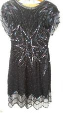 100% Silk Sequined designer LILLIE RUBIN woman ladies evening dress Size Small