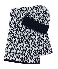 NWT MICHAEL KORS Women Knit Scarf Beanie Hat Set Black/White MK Logo $88 534381C