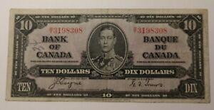 1937 Canada Ten Dollars Banknote 3369