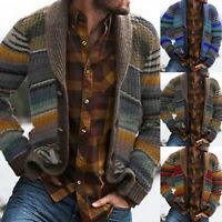 Mens Winter Knitted Sweater Cardigan Striped Shawl Collar Outerwear Knitwear Top