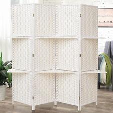 4 Panel Light Cream Screens Solid Weave Wicker Room Divider Privacy Screen Shelf