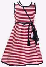 Bonnie Jean Little Girl's Striped Star Spangled Fit & Flare Dress-Size-6X-Red