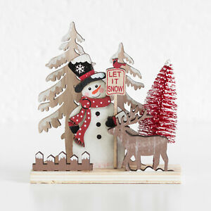 Small Wooden Snowman Reindeer Christmas Trees Decoration Ornament Sculpture Gift