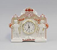 9944336 Porzellan Tisch-Uhr Klassizismus rot Antike Kämmer 20x18cm