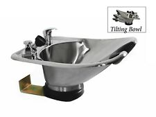 Tilting Shampoo Bowl Polished Stainless Steel Wall Mounted Sink TLC-1568WT