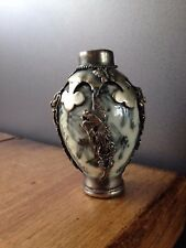 ANTIQUE CHINESE CERAMIC & SILVER BUTTERFLY DRAGON SNUFF / SCENT PERFUME BOTTLE